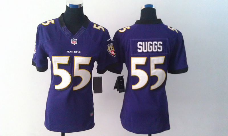 Womens Baltimore Ravens 55 Terrell Suggs Purple Nike Jerseys