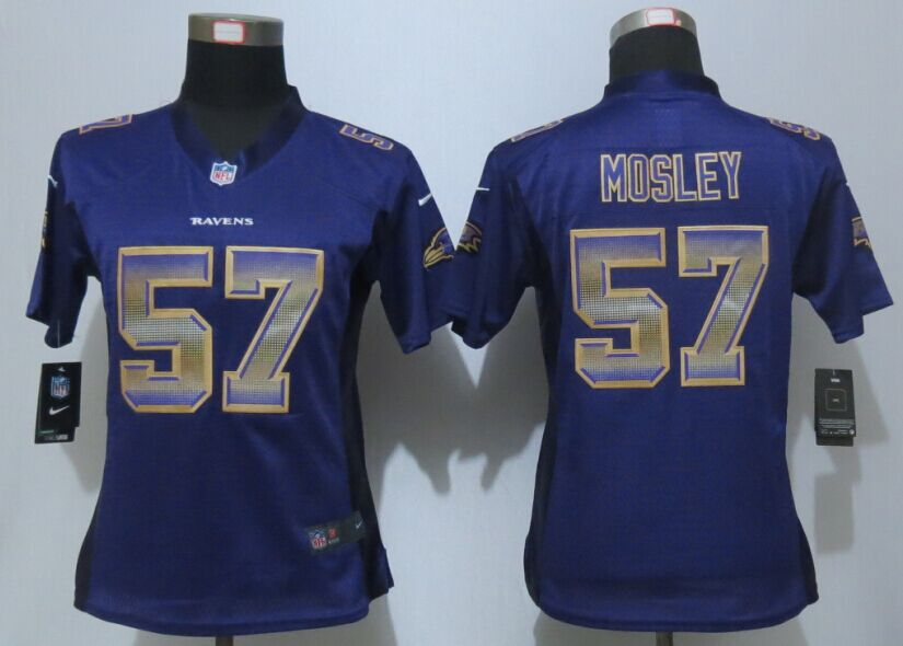 Womens Baltimore Ravens 57 Mosley Purple Strobe New Nike Elite Jersey