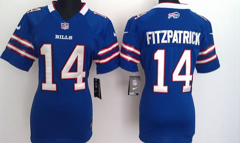 Womens Buffalo Bills 14 Fitzpatrick Blue Nike Jerseys