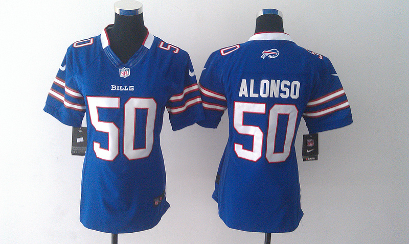 Womens Buffalo Bills 50 Alonso Blue Nike Jerseys