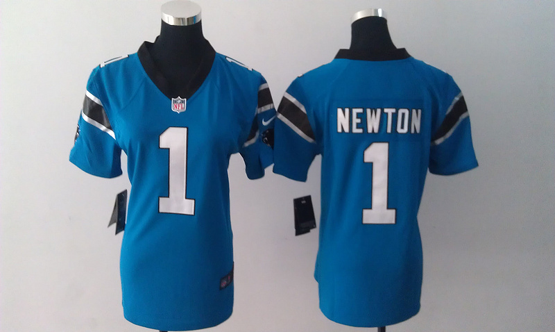 Womens Carolina Panthers 1 Cam Newton Blue Nike Jerseys