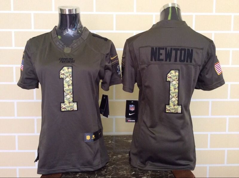 Womens Carolina Panthers 1 Cam Newton Green Nike Salute To Service Limited Jersey