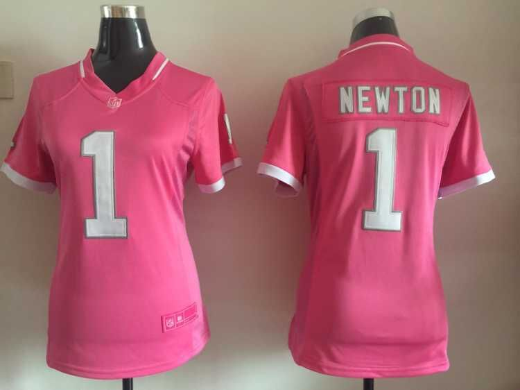 Womens Carolina Panthers 1 Newton 2015 Pink Bubble Gum Jersey