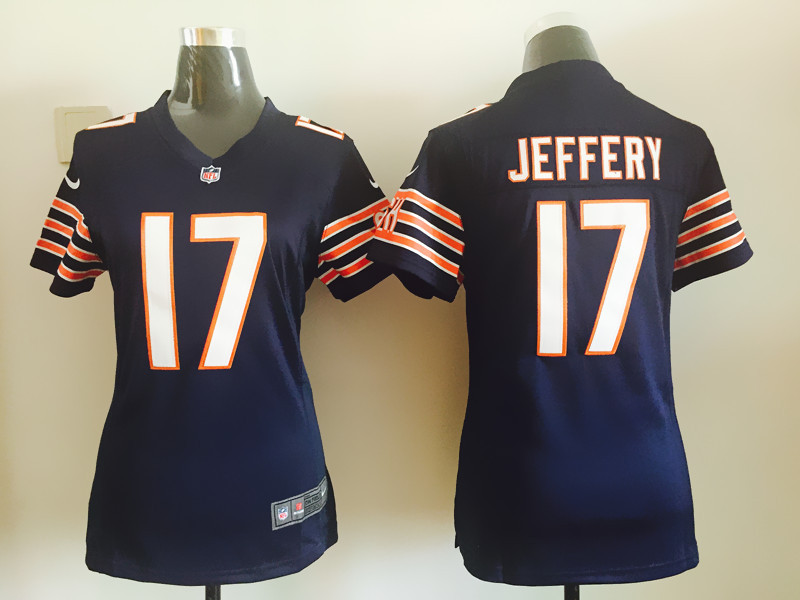 Womens Chicago Bears 17 Jeffery Blue Nike Jerseys