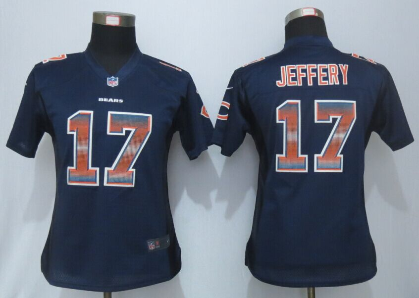 Womens Chicago Bears 17 Jeffery Navy Blue Strobe New Nike Elite Jersey