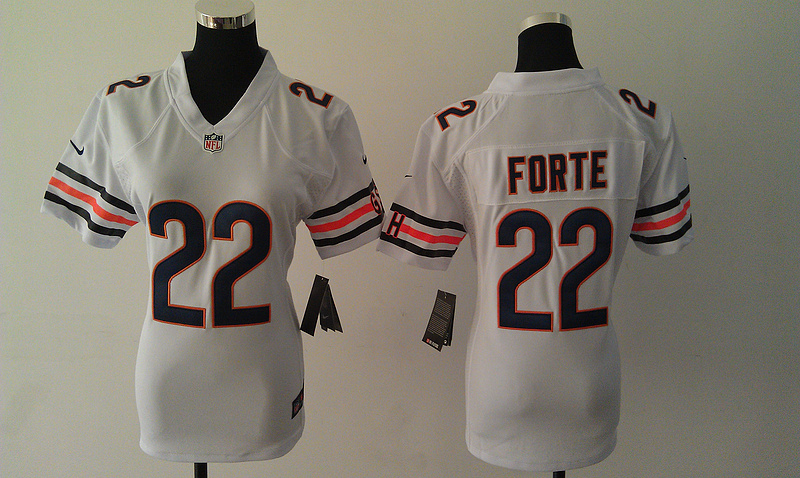 Womens Chicago Bears 22 Matt Forte White Nike Jerseys