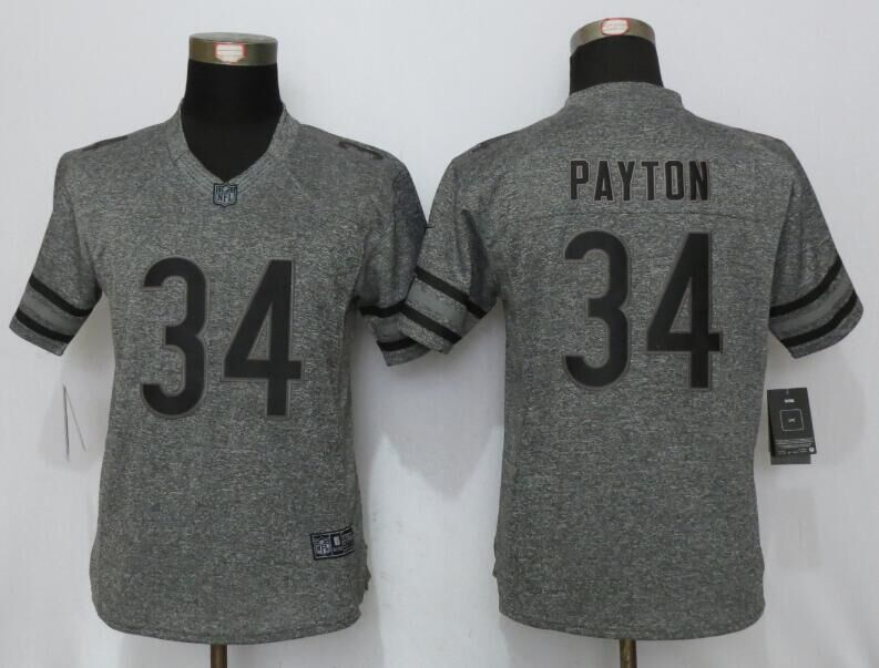 Womens Chicago Bears 34 Payton Gray Stitched Gridiron Gray New Nike Limited Jersey