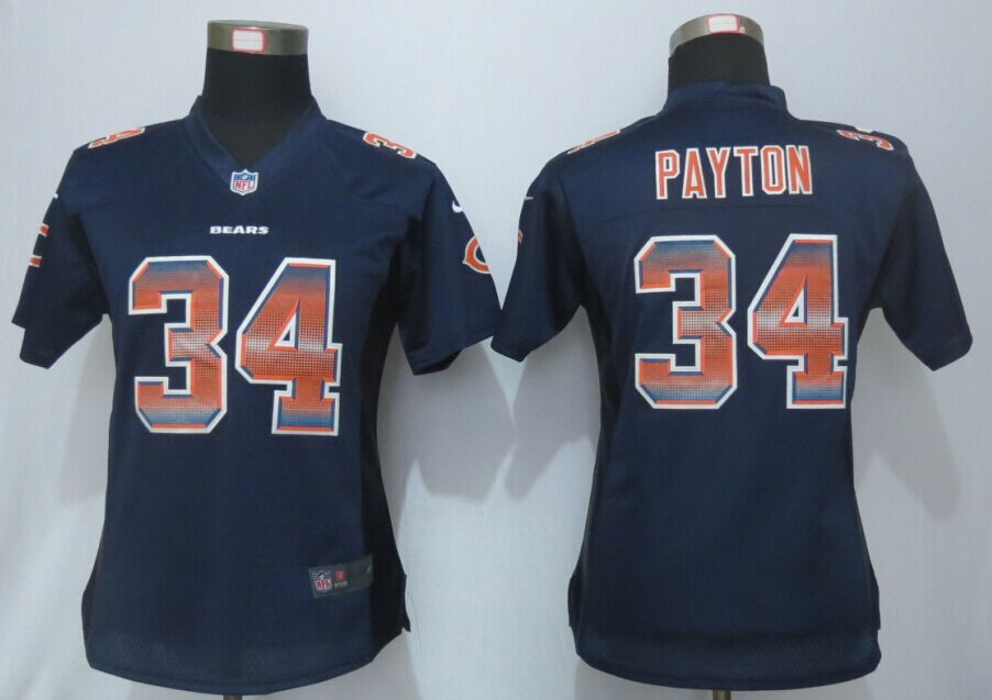 Womens Chicago Bears 34 Payton Navy Blue Strobe New Nike Elite Jersey