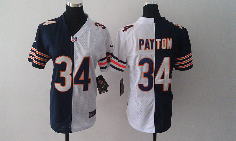 Womens Chicago Bears 34 Walter Payton Blue White Nike Split Jersey