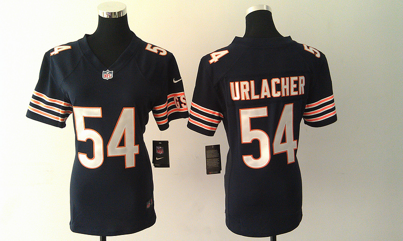 Womens Chicago Bears 54 Brian Urlacher Blue Nike Jerseys
