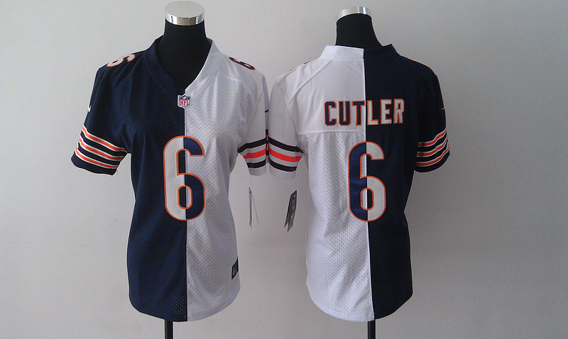 Womens Chicago Bears 6 Cutler Blue White Nike Split Jersey