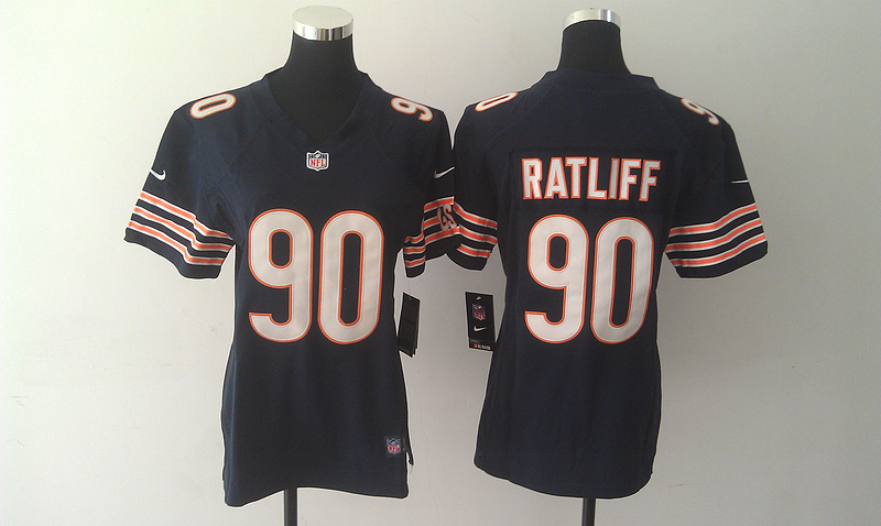 Womens Chicago Bears 90 Ratliff Blue Nike Jerseys