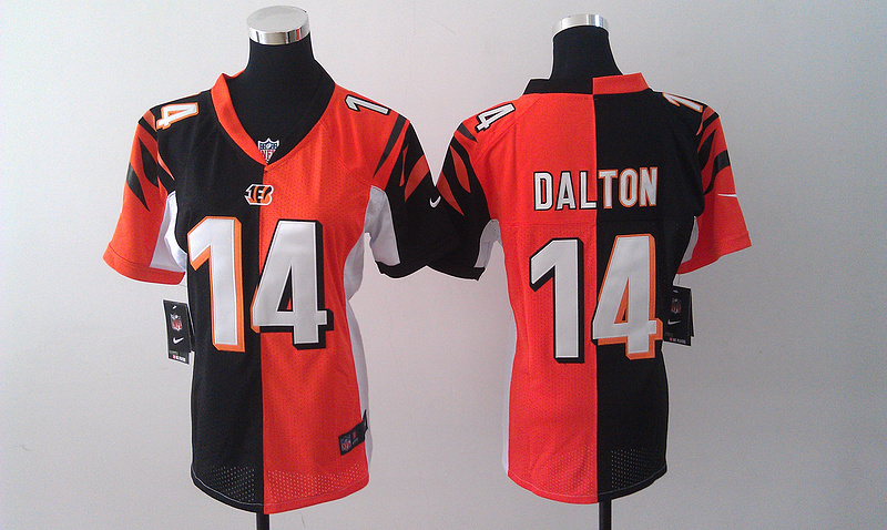 Womens Cincinnati Bengals 14 Dalton Black Orange Nike Split Jersey