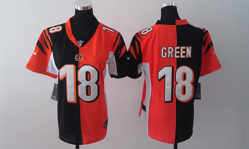 Womens Cincinnati Bengals 18 Green Black Orange Nike Split Jersey