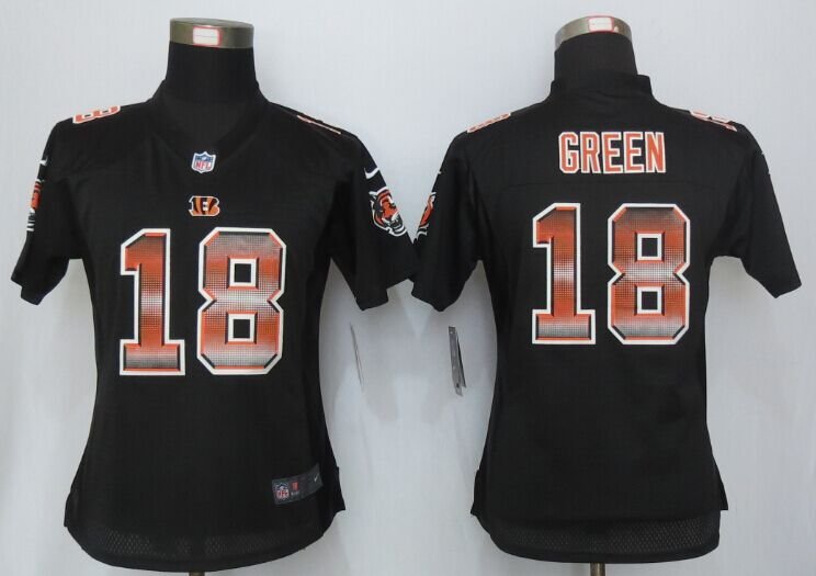 Womens Cincinnati Bengals 18 Green Black Strobe New Nike Elite Jersey