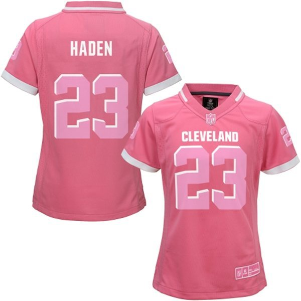 Womens Cleveland Browns 23 Haden 2015 Pink Bubble Gum Jersey