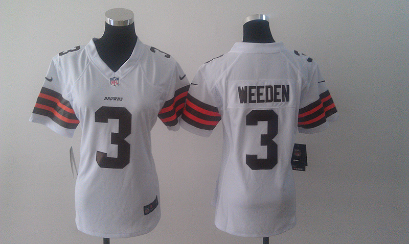 Womens Cleveland Browns 3 Weeden White Nike Jerseys