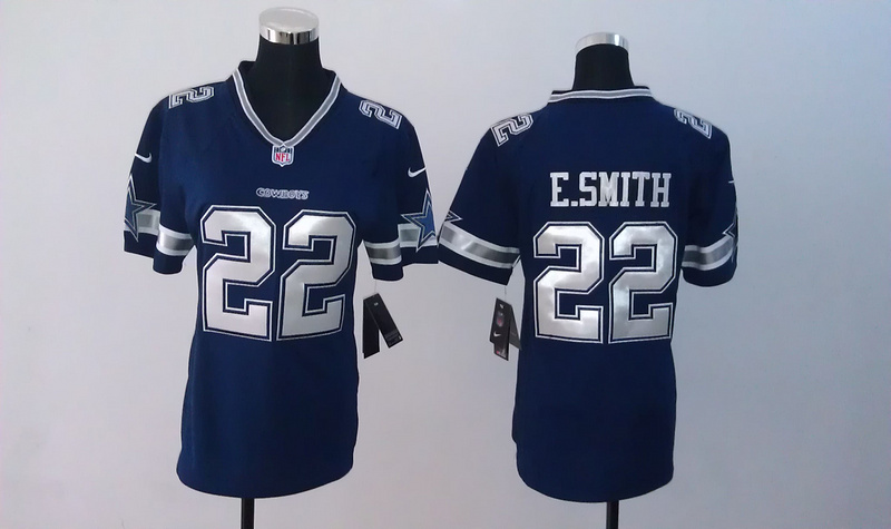 Womens Dallas Cowboys 22 Emmitt Smith Blue Nike Jerseys