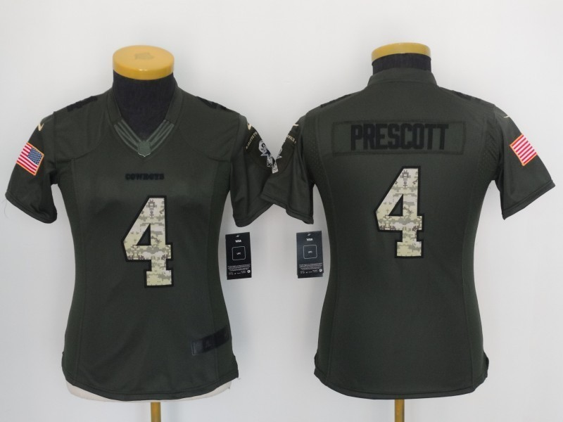 Womens Dallas Cowboys 4 Dak Prescott Green Salute TO Service Jerseys