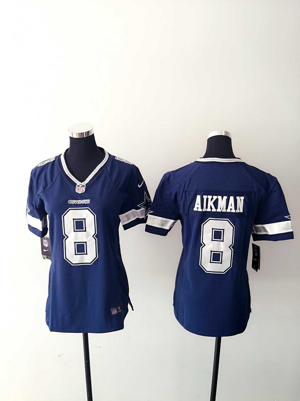 Womens Dallas Cowboys 8 Aikman Blue Nike Jerseys