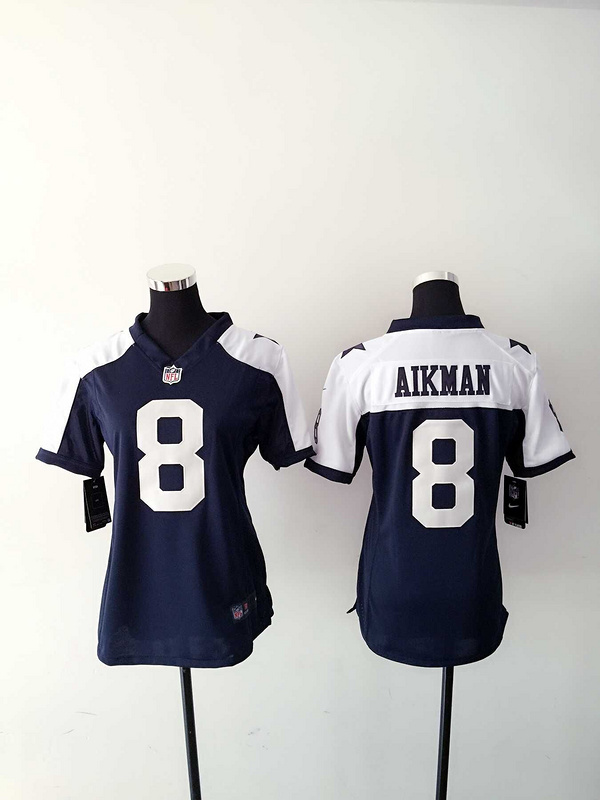 Womens Dallas Cowboys 8 Aikman Blue Thanksgiving Nike Jerseys