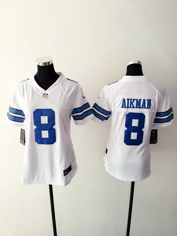 Womens Dallas Cowboys 8 Aikman White Nike Jerseys