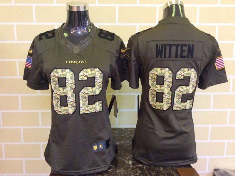 Womens Dallas Cowboys 82 Jason Witten Green Nike Salute To Service Limited Jersey