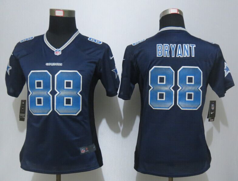 Womens Dallas Cowboys 88 Bryant Navy Blue Strobe New Nike Elite Jersey