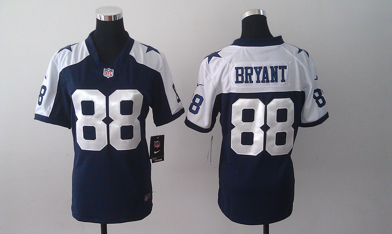 Womens Dallas Cowboys 88 Dez Bryant Blue Nike Thanksgiving Jerseys