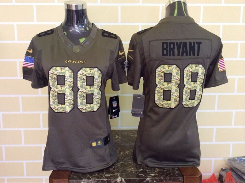 Womens Dallas Cowboys 88 Dez Bryant Green Salute To Service Nike Limited Jersey