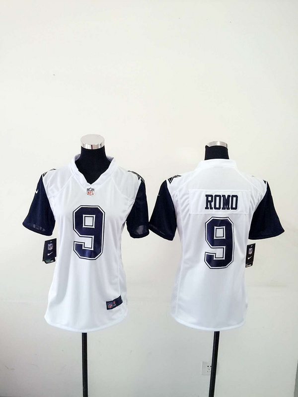 Womens Dallas Cowboys 9 Tony Romo White New Nike Stitched Limited Rush Jersey.