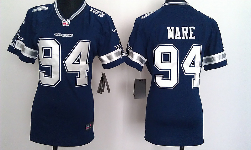 Womens Dallas Cowboys 94 Ware Blue Nike Jerseys