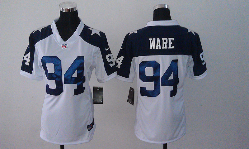 Womens Dallas Cowboys 94 Ware White Nike Thanksgiving Jerseys