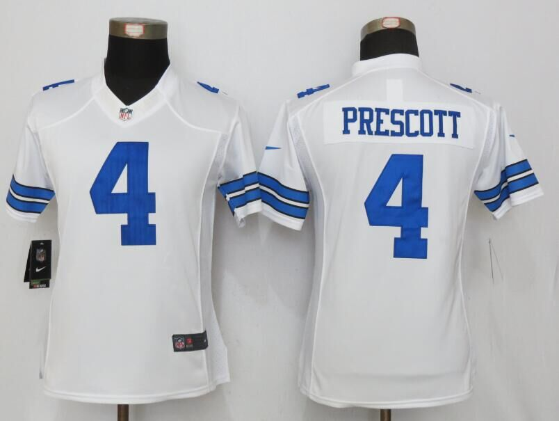 Womens Dallas cowboys 4 Prescott White New Nike Limited Jersey