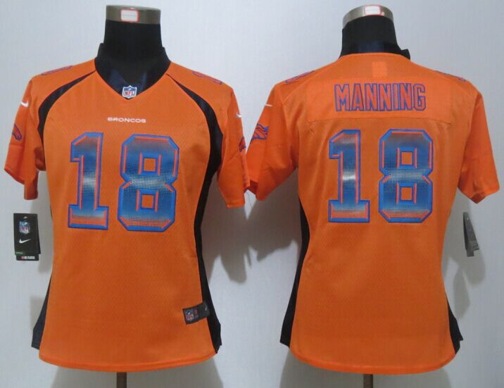 Womens Denver Broncos 18 Manning Orange Strobe New Nike Elite Jersey