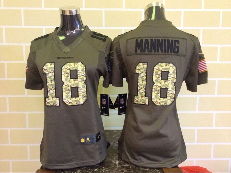 Womens Denver Broncos 18 Peyton Manning Green Salute To Service Nike Limited Jersey.