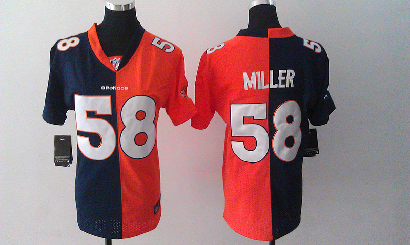 Womens Denver Broncos 58 Von Miller Blue Orange Nike Split Jersey