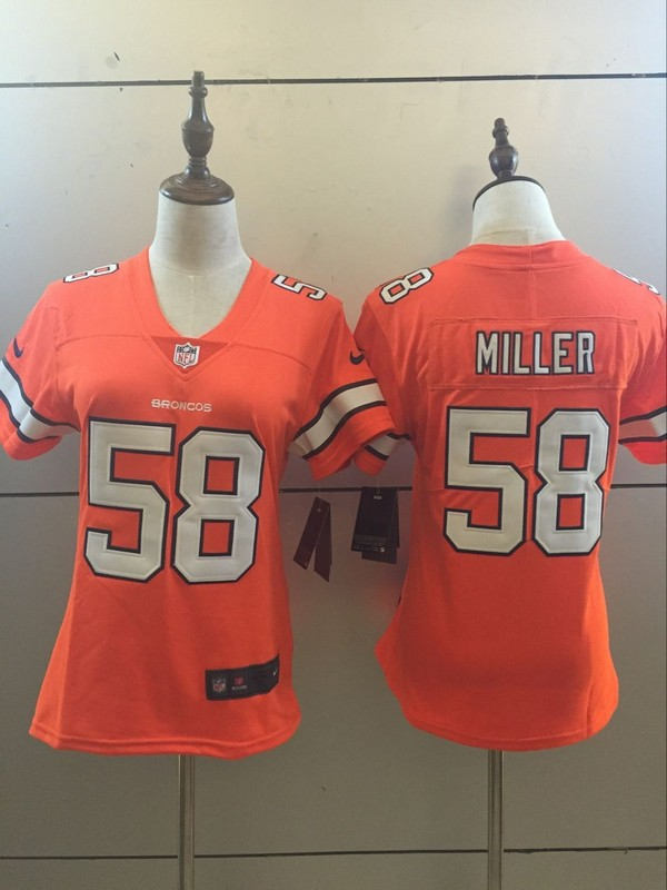 Womens Denver Broncos 58 Von Miller Orange 2016 Nike Stitched NFL Limited Rush Jersey
