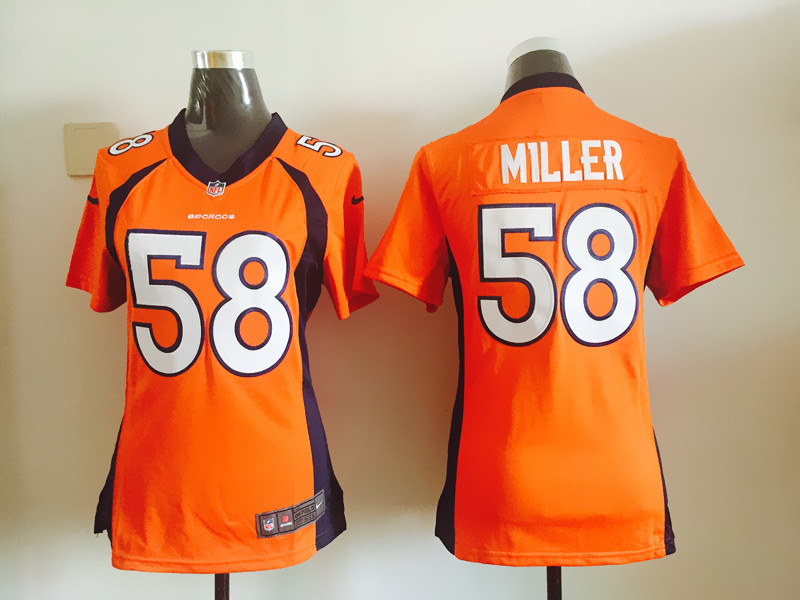 Womens Denver Broncos 58 Von Miller Orange Nike Jerseys