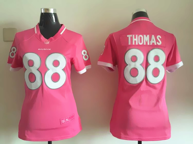 Womens Denver Broncos 88 Thomas 2015 Pink Bubble Gum Jersey