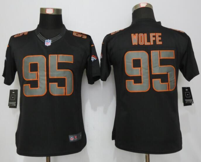 Womens Denver Broncos 95 Wolfe Impact Limited New Nike Black Jerseys