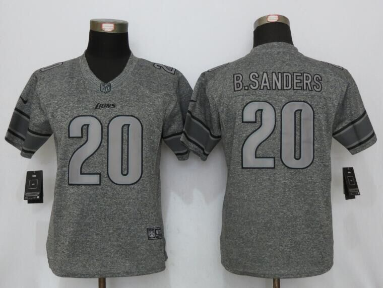 Womens Detroit Lions 20 B.Sanders Gray Stitched Gridiron Gray New Nike Limited Jersey