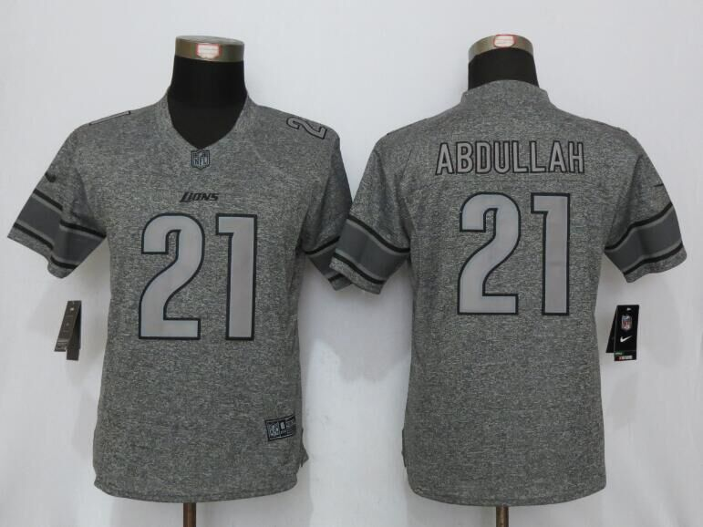 Womens Detroit Lions 21 Abdullah Gray Stitched Gridiron Gray New Nike Limited Jersey