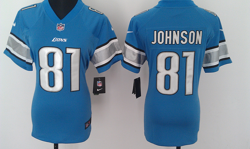 Womens Detroit Lions 81 Johnson Blue Nike Jerseys