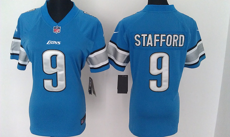 Womens Detroit Lions 9 Stafford Blue Nike Jerseys