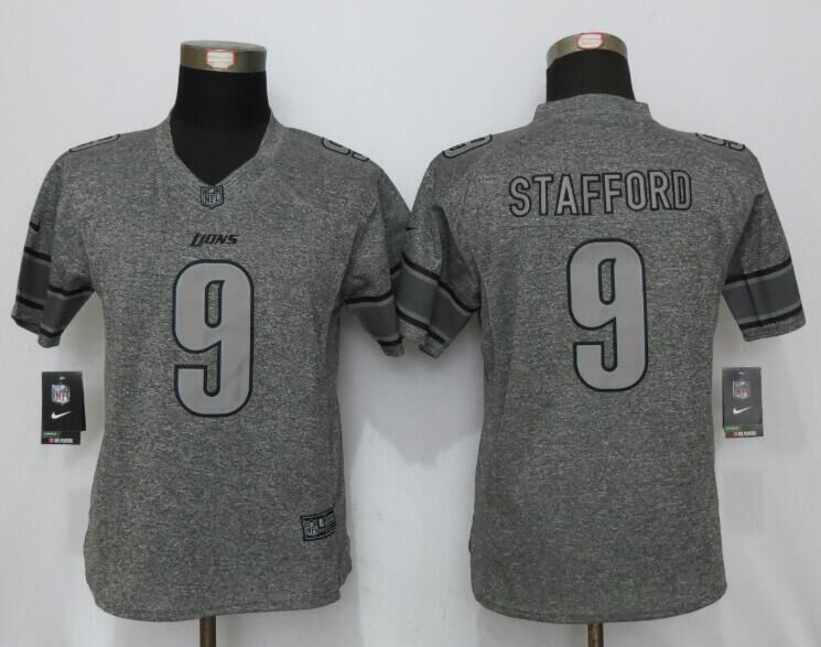 Womens Detroit Lions 9 Stafford Gray Stitched Gridiron Gray New Nike Limited Jersey