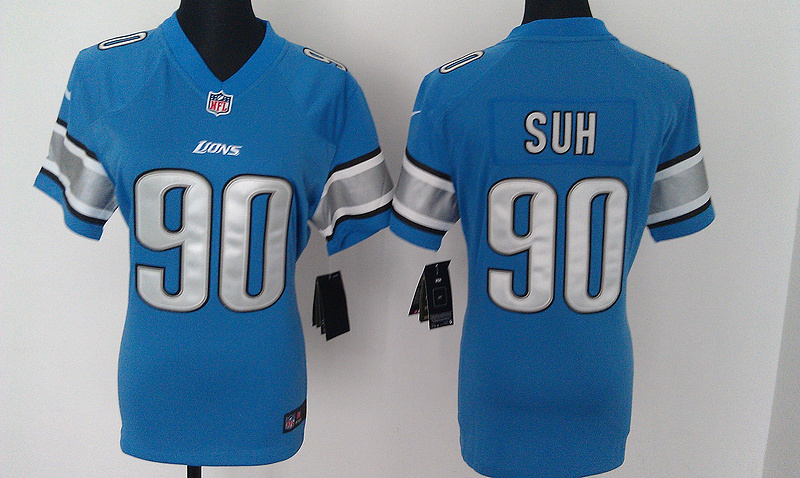 Womens Detroit Lions 90 Suh Blue Nike Jerseys