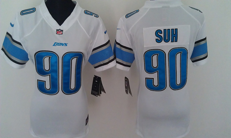 Womens Detroit Lions 90 Suh White Nike Jerseys