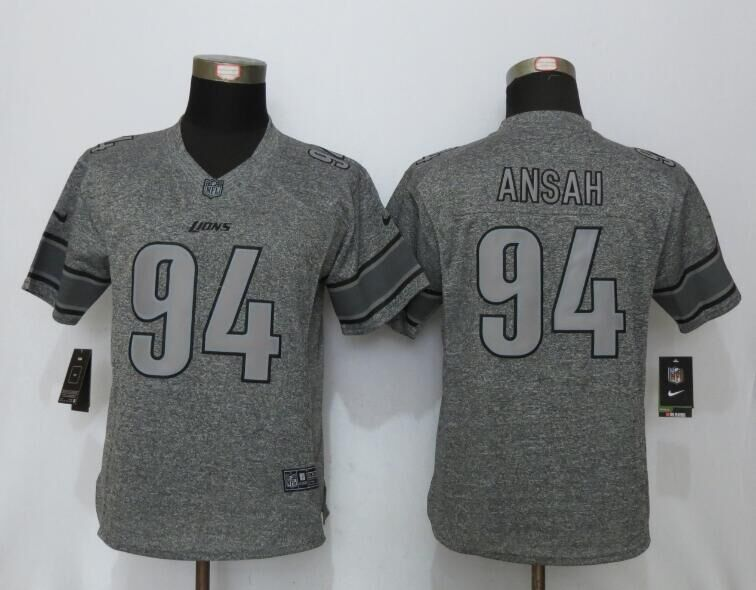 Womens Detroit Lions 94 Ansah Gray Stitched Gridiron Gray New Nike Limited Jersey