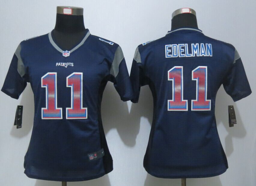 Womens England Patriots 11 Edelman Navy Blue Strobe New Nike Elite Jersey